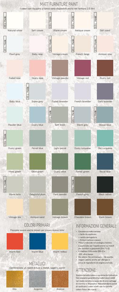 tabella colori vernici shabby atelier